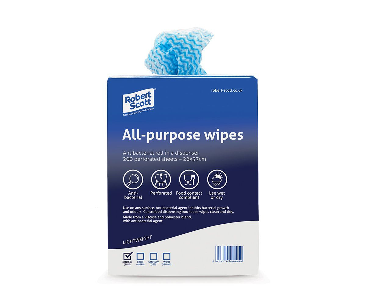 22X37CM ALL PURPOSE ANTI BAC CLOTH ROLL 200 ABBEY BLUE