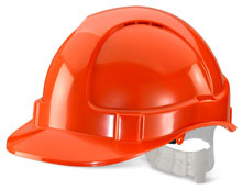 ECONOMY VENTED S/HELMET ORANGE PLASTIC HARNESS