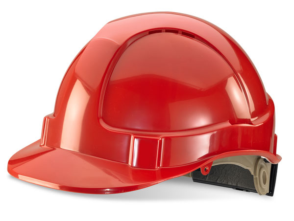 B-BRAND SAFETY HELMET RED WHEEL RATCHET HEADGEAR