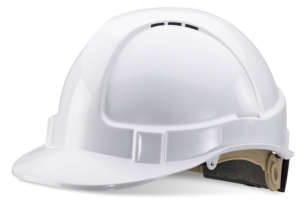 B-BRAND SAFETY HELMET WHITE WHEEL RATCHET HEADGEAR