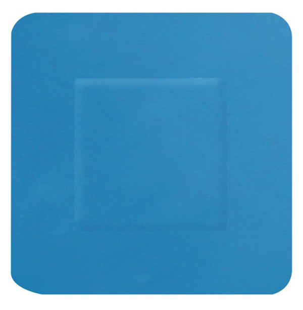 HYGIO PLAST BLUE DETECTABLE PLASTERS 100 SQUARE 38x38mm