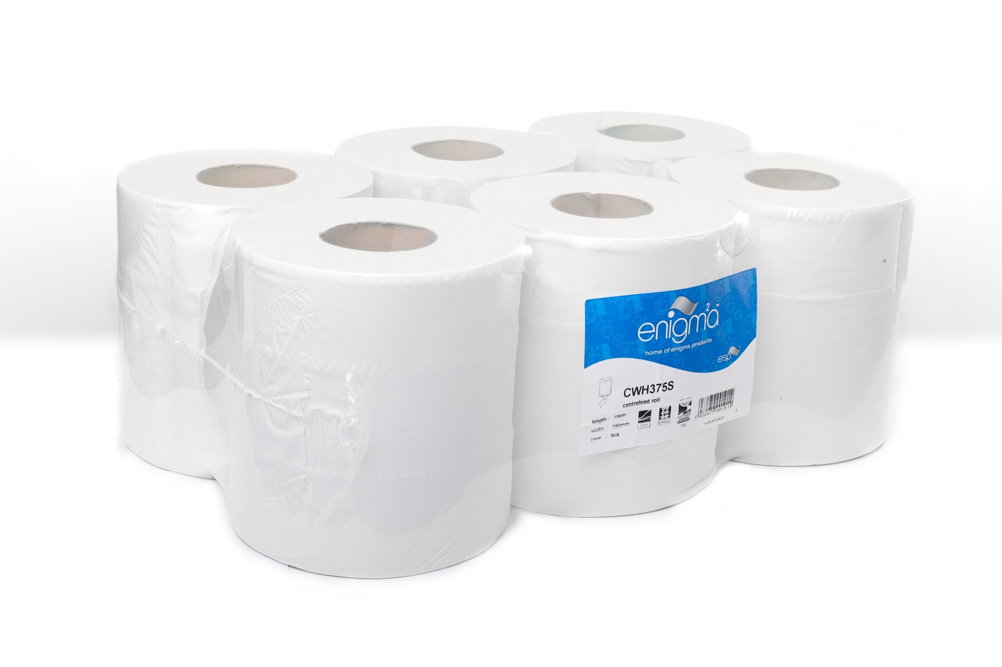 WHITE 2 PLY EMBOSSED CENTRE FEED 195MM X 150M X 60MM