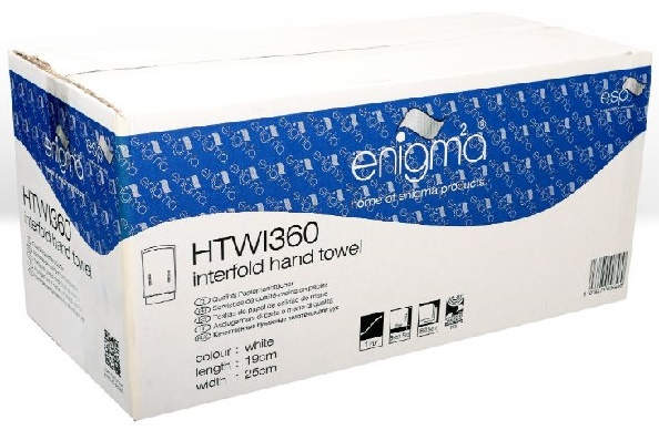 WHITE 1 PLY INTER-FOLD HAND TOWEL 3600 SHEETS