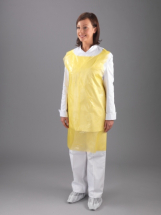 YELLOW POLY APRON 27inch X 42inch X 20 MICRON FLAT PACK (PER 100)