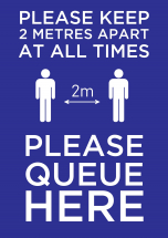 PLEASE QUEUE HERE PAPER POSTER A2 594MM X 420MM