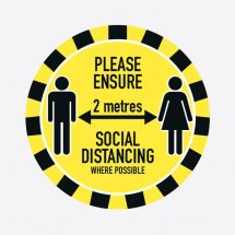 PLEASE ENSURE 2M APART SOCIAL DISTANCING 300MM FLOOR STICKER