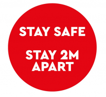 STAY SAFE. STAY 2M APART 300MM FLOOR STICKER PK OF 5