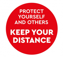 PROTECT YOURSELF & OTHERS KEEP YOUR DISTANCE 300MM FLOOR STI
