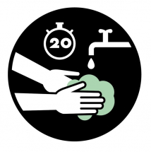 WASH HANDS FOR 20 SECONDS 300MM FLOOR STICKER PK OF 5