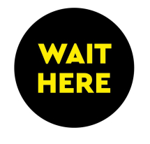 WAIT HERE 300MM FLOOR STICKER PK OF 5