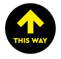 THIS WAY 300MM WINDOW STICKER PK OF 5