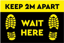 KEEP 2M APART-WAIT HERE 600MM X 400MM S/A FLOOR STICKER PR 5