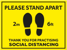 PLEASE STAND APART 2M/6' 600MM X 400MM S/A FLOOR STICKER PR 5