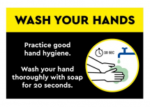 WASH YOUR HANDS PLASTIC POSTER A2 SIZE